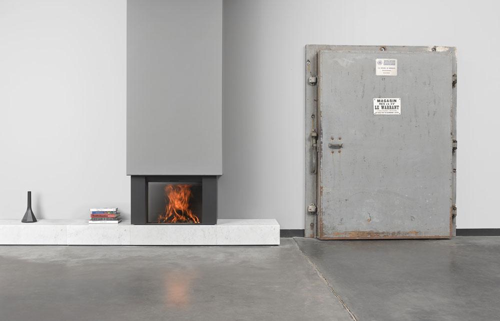 Caminetto STUV monoblocco bianco e grigio