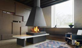 Caminetto a legna con visione del fuoco a 360° di Piazzetta